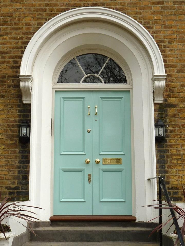Painted Front Door With Side Lights