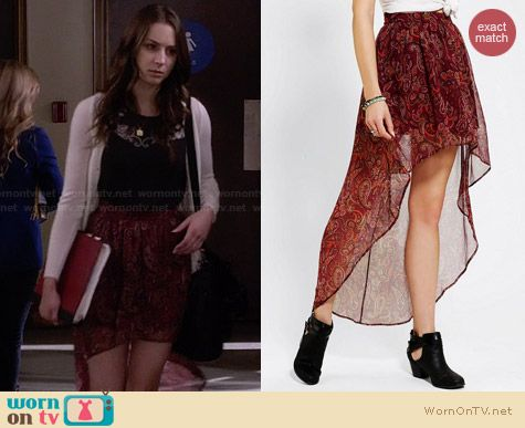 Spencer's red paisley printed high-low skirt on Pretty Little Liars. Outfit Details: http://wornontv.net/27595 #PLL #fashion