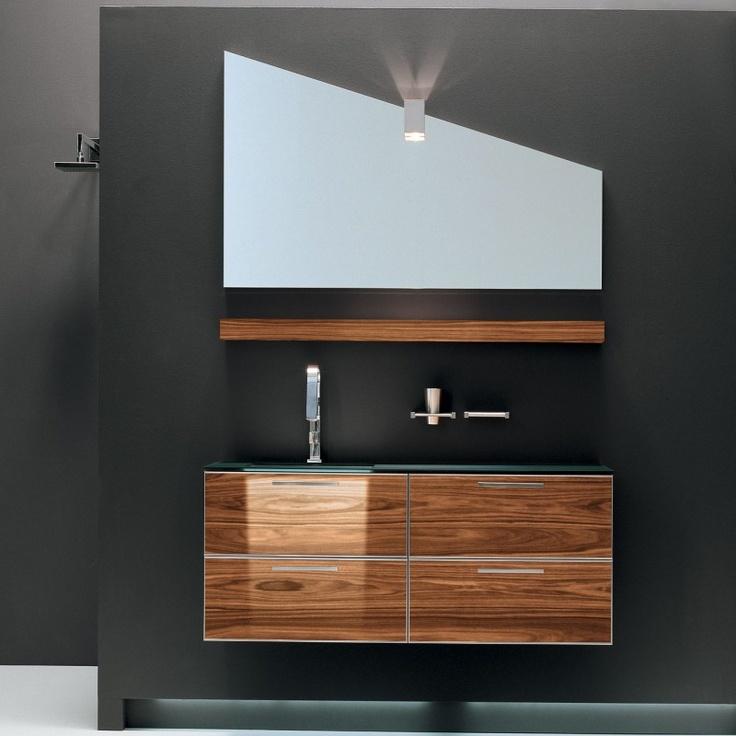 Exotic wood floating vanity