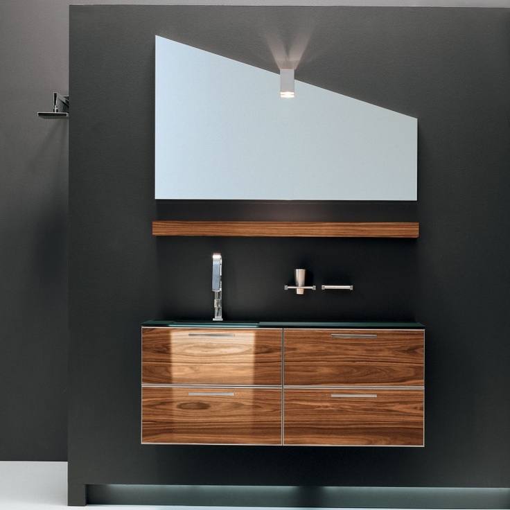 Exotic wood floating vanity