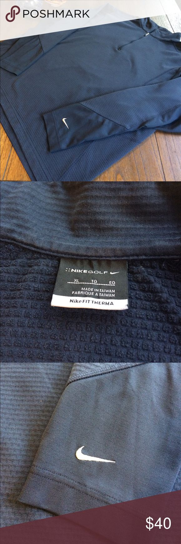 NikeFIT Therma Quarter Zip Golf 🏌 Pullover Nike Golf 🏌 NikeFIT Therma Quarter Zip Pullover in EUC. Navy Blue color with Therma Waffle interior to keep warm and dry on the golf course. Embroidered Swoosh logo on bottom sleeve. Nike Jackets & Coats Performance Jackets