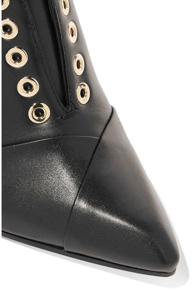 Lanvin - Leather Wedge Ankle Boots - Black - IT39