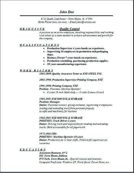 Resume Templates For Quality Control Control Quality Resume