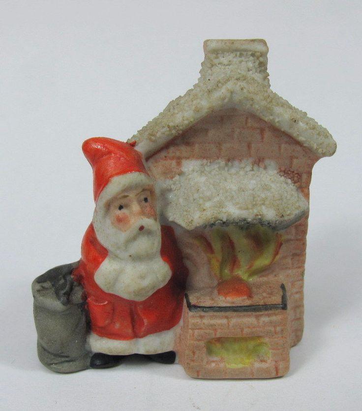 Antique german bisque miniature christmas figurine santa