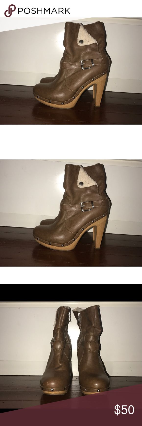 Ankle Boots -Studded  -Faux fur  -Brown buckle ankle boots BCBGeneration Shoes Ankle Boots & Booties