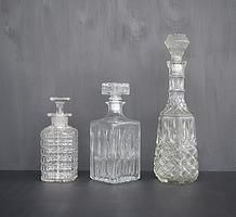 Vintage glass decanters for hire for weddings and events
