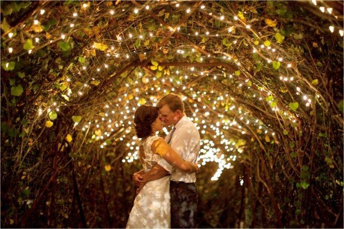 Bride And Groom Vineyard Twinkle Lights