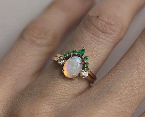Diamond Wedding Band Crown Ring Curved By MinimalVS