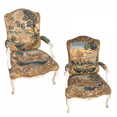 Pair of 18th Century French Antique Armchairs