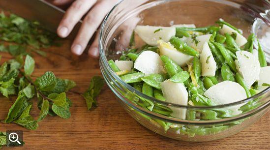 Snap Peas, Turnips, Mint & Preserved Lemon Salad.