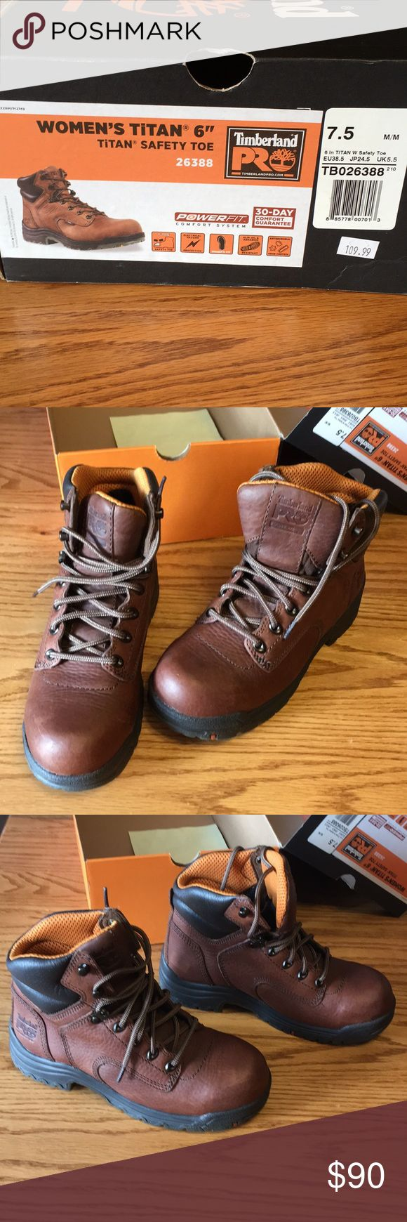 """Timberland Pro Titan 6"""" Safety Toe Boots Like New. Style # 26388 $109 new. Titan safety toe. Composite toe. Electrical hazard protection. Slip, oil & abrasion resistant.  Antimicrobial odor control. Wore one time for less than 30 minutes in a food manufacturing facility (aka-clean floors!).  Make offer. Women's 7.5 runs true to size. Very comfortable. Timberland Shoes"""
