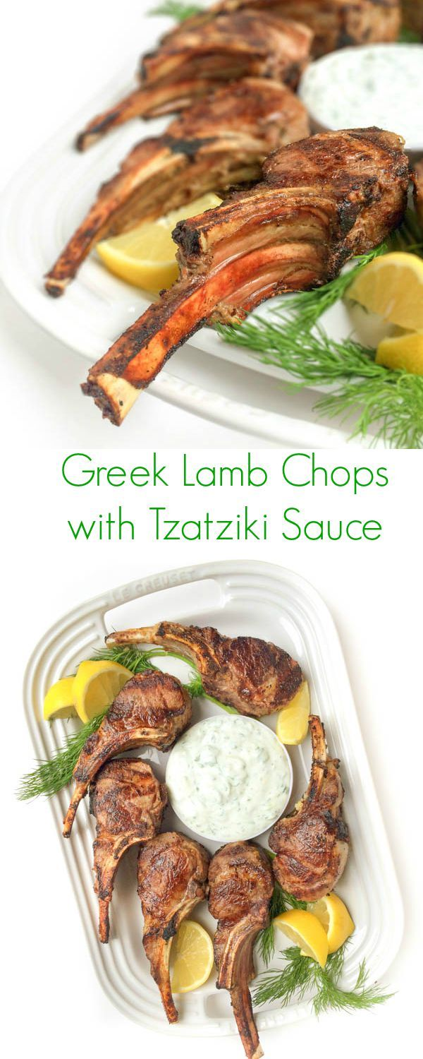 A fast 15 minute meal, your family will love these tender, grilled lamb chops served with a cool and creamy Greek tzatziki yogurt cucumber sauce.