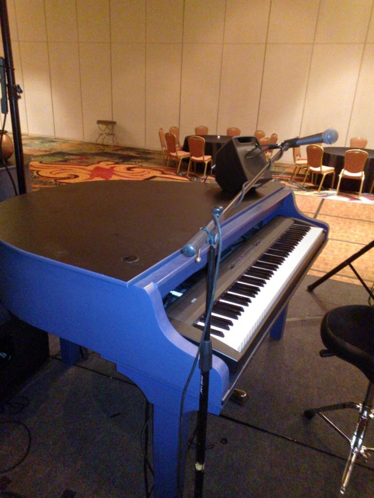 Blue Four Foot Mini Piano Shell With Laminate Black Top
