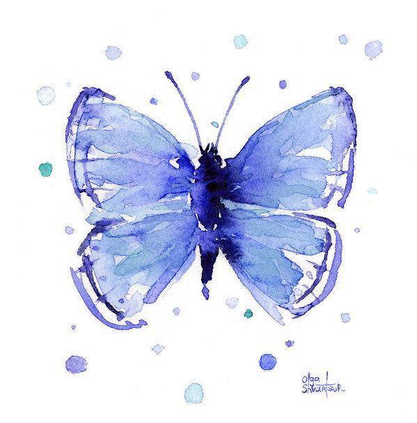 Blue Abstract Butterfly Art Print By Olga Shvartsur Butterfly