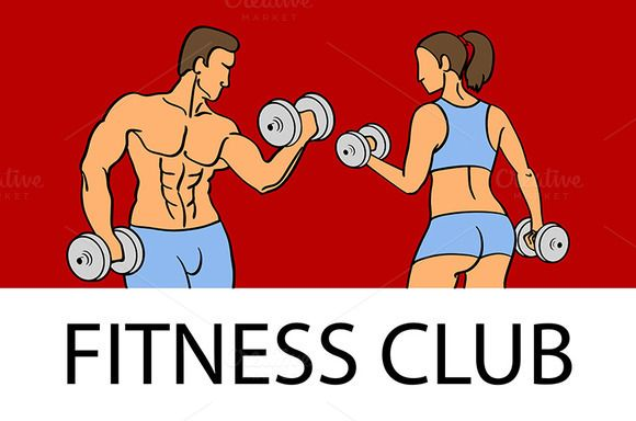 Man and woman Fitness template by Rommeo79 on @creativemarket