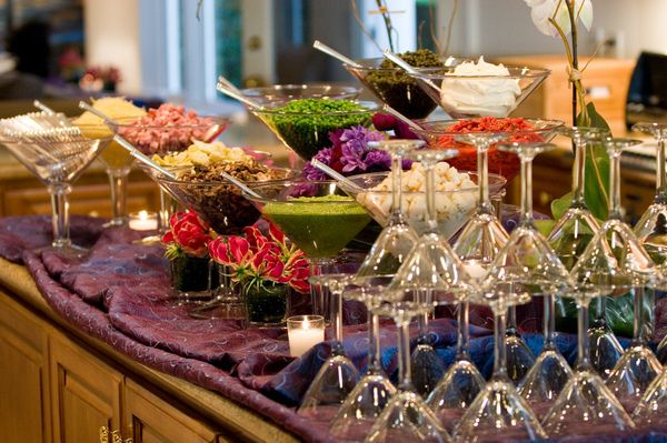 mashed potatoe martini bar... could also do a 'make your own 7 layer dip'  or taco bar.