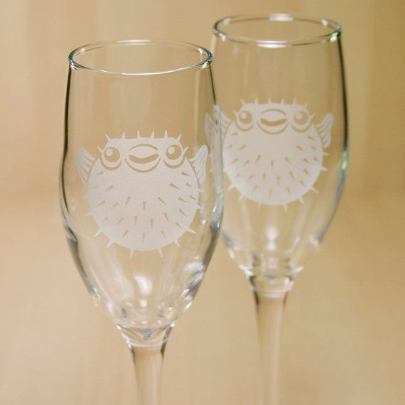 Pufferfish Champagne Flutes - etched nautical glasses - Set of 2 on Etsy, $44.00