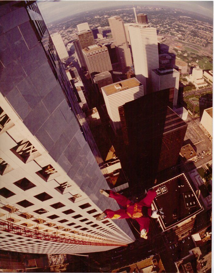 Carl Boenish diving down into a cityscape. For him, filming the jumps was just as important as the activity.