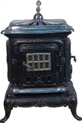 ben franklin stove | ... stove w nickel top antique ornate cast iron parlor stove w nickel top
