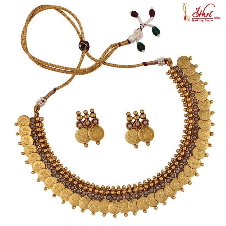 Traditional Antique Lakshmi Coin Necklace Set