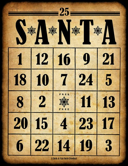 Santa bingo cards--perfect for my family's Christmas Bingo! Great fun and wonderful