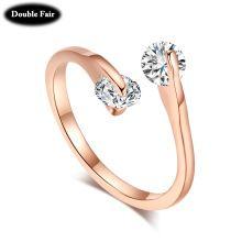 Dwr007 mode ol stijl ontwerp dubbele cz diamant 18k rose goud/zilver betrokkenheid/trouwringen voor vrouwen oostenrijkse kristal()