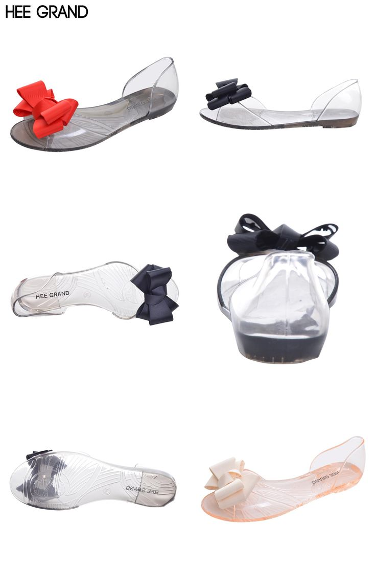 [Visit to Buy] HEE GRAND 2017 New Women Jelly Sandals Sweet Bowtie Flat Shoes Woman Slip On Summer Jelly Shoes 4 Colors Size 35-40 XWZ3710 #Advertisement