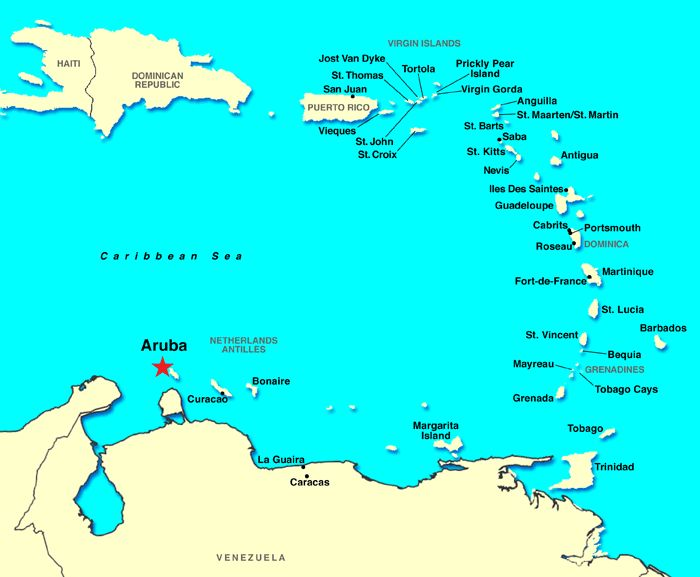 Aruba, Bonaire and Curacao    http://www.vacationstogo.com/images/ports/maps/11_w.gif