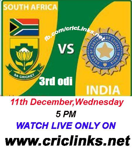 Wednesday 11th December 3rd ODI between India & South Afric will be played at Centurion park.South africa lead 3 match seris by 2-0 they already win the seris and they want make it 3-0.Other hand india will play for pride to win last odi to avoid to white wash.its all happen wednesday.Match will be start 5 PM IST.5.30 PST.Watch live action only on http://www.criclinks.net/