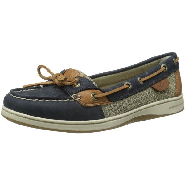 Sperry Top-Sider Women's Angel Fish Embossed Boat Shoe ($45) ❤ liked on Polyvore featuring shoes, loafers, top sider shoes, topsider shoes, laced shoes, anchor shoes and boat shoes