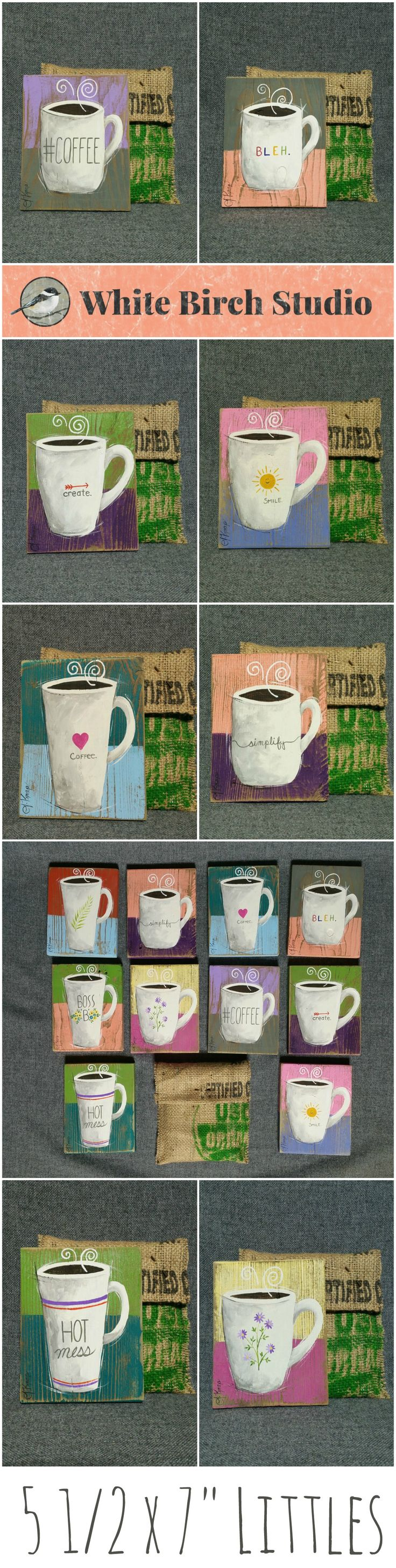 "FREE SHIPPING - United States Only  Original Small Coffee Acrylic painting on reclaimed wood 5 1/2"" x 7"" tall  ATTENTION Coffee Lovers! Set a unique mug painting by your Keurig, on your desk by your computer or hang as a group collection vertically or horizontally. Each piece is hand painted and sanded for an aged appearance. Each piece comes in a hand sewn bag made from recycled coffee bean sacks and the enclosure is an old nail."