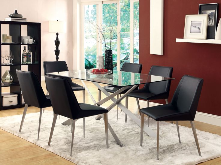 Anderson Dining Collection :: Vinyl seating for comfortable dining with a silver metal table base that is sure to impress!