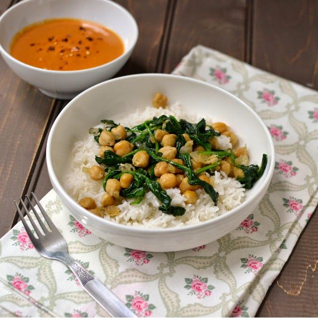 Ugandan Peanut Sauce with Chickpeas and Greens- I served it with both mashed sweet potatoes and a rice blend. Delicious and easy to make. Would work well with kale or collard greens too.