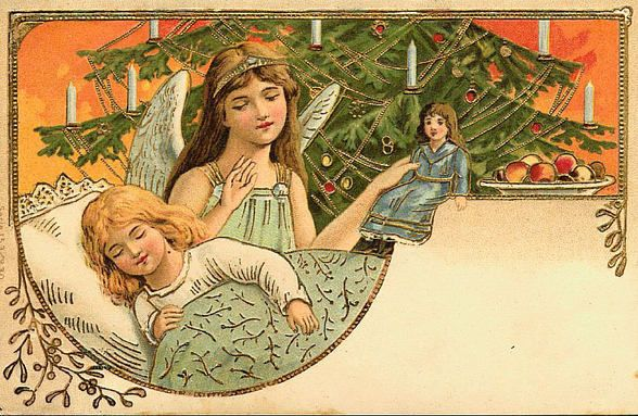 Vintage Angels Christmas Label ~ Beautiful! Orange Background