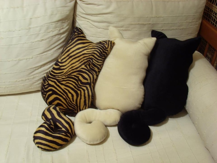 CAT PILLOWS!!!!!!!!!!  I want!!!  You had one of these on your bed the other day!