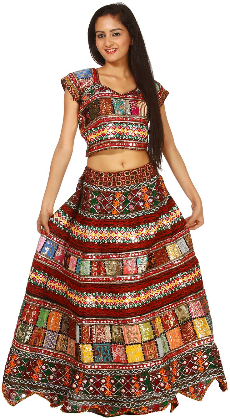 Multi-Color Two-Piece Ghagra Choli From Kutch with Embroidered Sequins and Patchwork