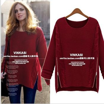 EAST KNITTING Fashion OT-090 2013 Women New Long Sleeve Pullovers celebrity style winter Zipper knitwear Sweater free shipping