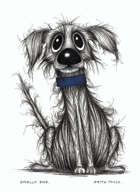 Smelly dog Cute but stinky pooch original drawing by KeithMills, £19.00