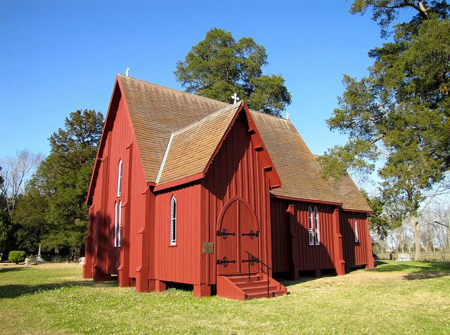 St. Andrew's Episcopal Church - Gallion, AL - small Carpenter Gothic style church built in 1853. The exterior of the church features wooden buttresses. It appears to have been built from a design in the book Rural Architecture by architect Richard Upjohn.    St. Andrew's was added to the National Register of Historic Places on November 7, 1973, and was declared a National Historic Landmark on the same day.