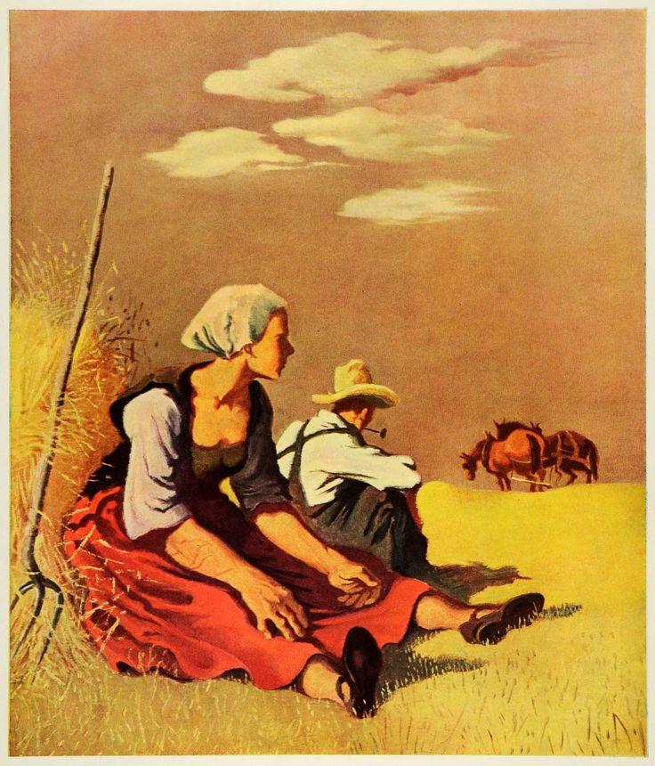 1945 Print Kansas Noon Farmer Horse Pitchfork Painting Georges Schreiber XAA5