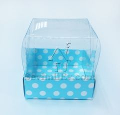 Mavi Beyaz Puantiteli Asetat Kutu - 5.5x5.5x2 cm