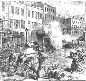 "NEW YORK CITY ""DRAFT"" RIOTS, known at the time as ""Draft Week"" were violent disturbances in New York City that were the culmination of working-class discontent with new laws passed by Congress that year to draft men for the ongoing Civil War. The riots remain the largest civil insurrection in American history, aside from the Civil War itself.  -- July 13-16, 1863"