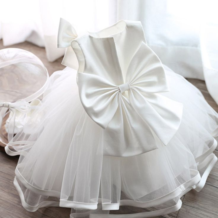Elegant Girls White Baby Princess Bridesmaid Flowers Dress Wedding Birthday Party Dresses Baptism Frocks For 1 2 4 6 8 10 Years