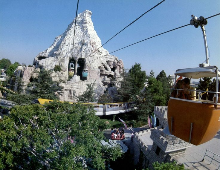 Skyway through the Matterhorn Bobsleds from the 1985 30th Anniversary Disneyland Calendar.
