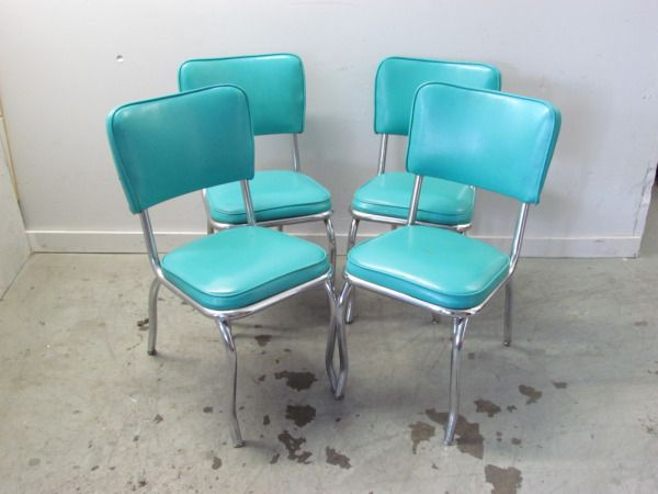 Set of Four Vintage Turquoise Dinette Chairs   Estate Store, Community  Warehouse, Portland OR - 28 Best Home: Dining Room Images On Pinterest Vintage Kitchen
