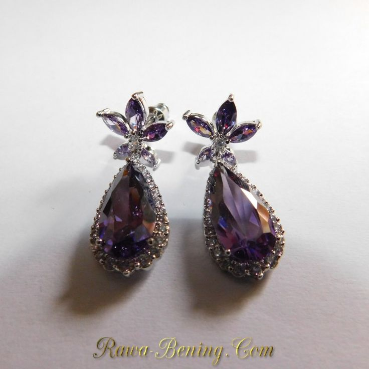 Harga Promo Anting Wanita Beauty Purple Stat Gold Filled 18K