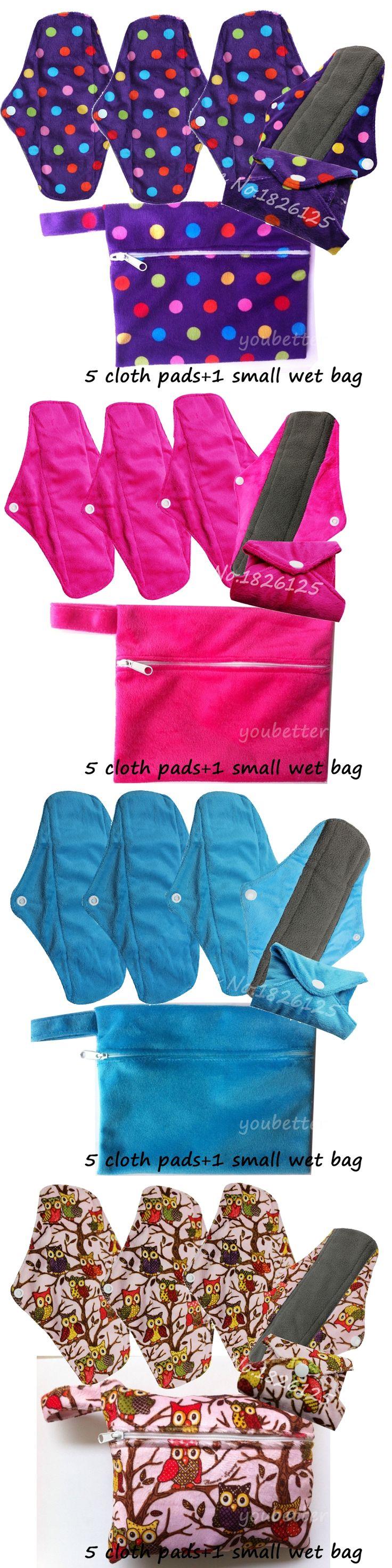 Regular Charcoal Bamboo Sanitary Pads Reusable Mama Cloth Menstrual Pads WIth One Sanitary Napkin Bag