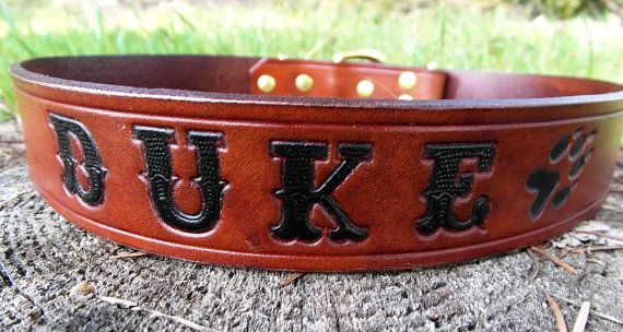 **Birthday Present** Large Dog Collar with name engraved by HiHorseRanch on Etsy, $49.00