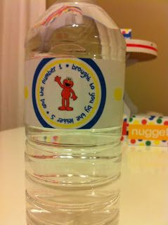 Elmo's party water bottle tags