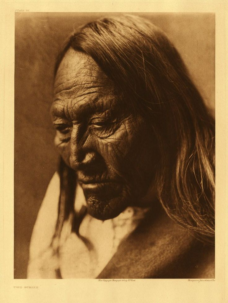Two Strike - Teton Sioux - by Edward S Curtis - 1908. (Antique photo of Native American)